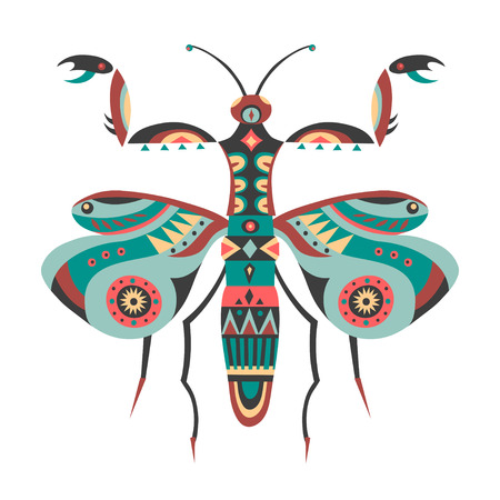 Vector illustration of mantis decorated with ethnic patterns. Illustration