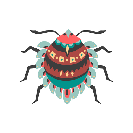 Vector illustration of mite (acari) decorated with ethnic patterns. Illustration