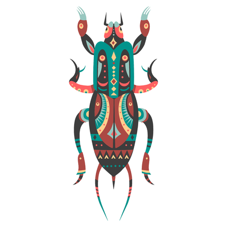 Vector illustration of Mole cricket decorated with ethnic patterns.