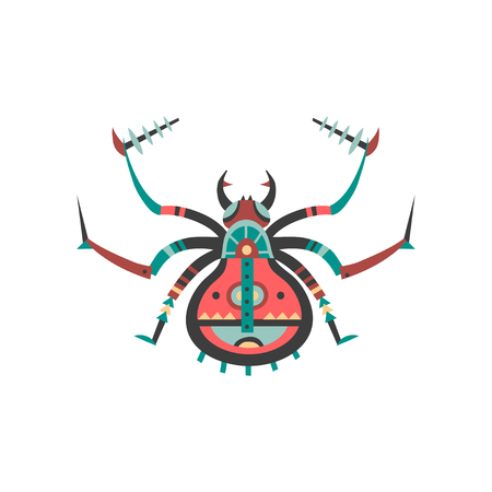 Vector illustration of spider decorated with ethnic patterns.