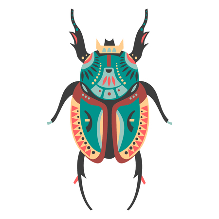 Vector illustration of stag beetle decorated with ethnic patterns.