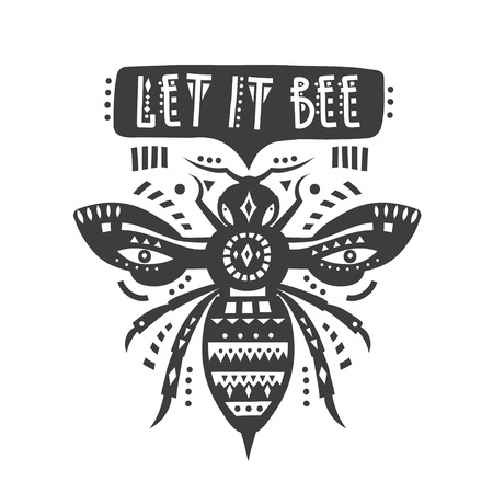 Vector illustration with black patterned be let and lettering let it bee Ilustración de vector