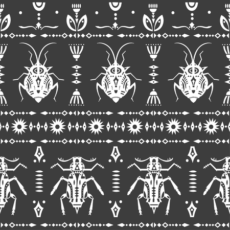 Vector seamless pattern with geometric insects. Vector Illustration