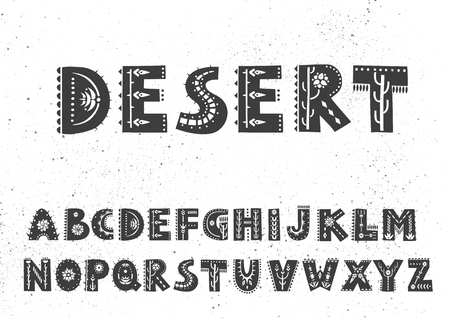 Vector bold alphabet decorated with folk ornaments with southern motifs.  Display font.