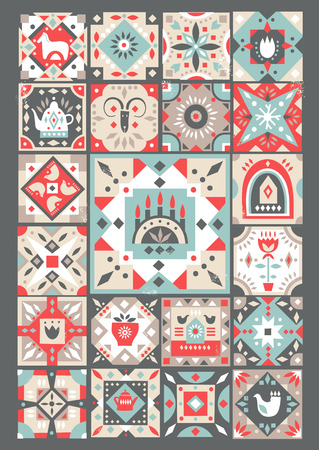 Concept of original Christmas greeting  card made of folk patterned squares
