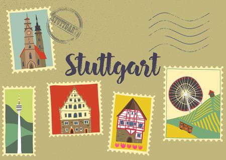 Hand-drawn illustration of Stuttgart landmarks on post marks: Monastery church, half-timbered houses, Cannstatt Ferris wheel, TV tower. For souvenirs, postcards, magnets. Baden-Wurttemberg, Germany