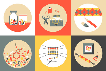Set of six colored flat round vector icons on theme of beadwork, jewelry work, handicraft, bead weaving, hobby. Storage, equipment, process, goods. Illustration