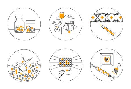 Set of six thin line round vector icons on theme of beadwork, jewelry work, handicraft, bead weaving, hobby. Storage, equipment, process, goods.