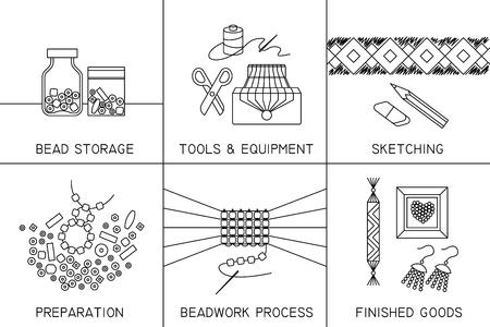 Satz von sechs dünnen quadratischen Vektorsymbolen zum Thema Perlenarbeiten, Schmuckarbeiten, Handwerk, Perlenweben, Hobby.