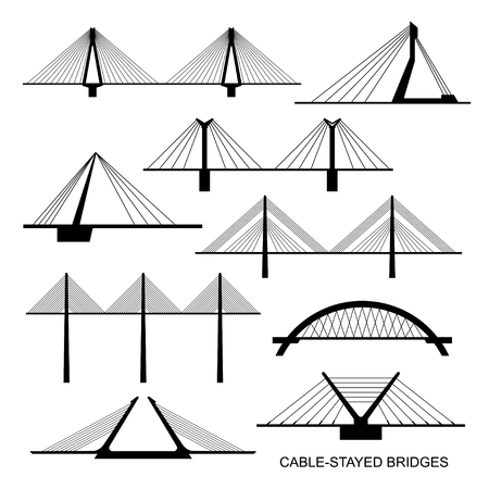 Set of nine stylized bridges. Black silhouettes of different modern cable-stayed bridge on a white background. Vector.