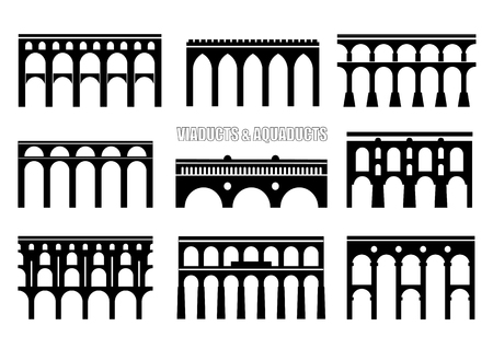 Ensemble de silhouettes de pont. Viaducs, aqueducs, rails et ponts en arc à plusieurs niveaux. Concept de logo, icône.