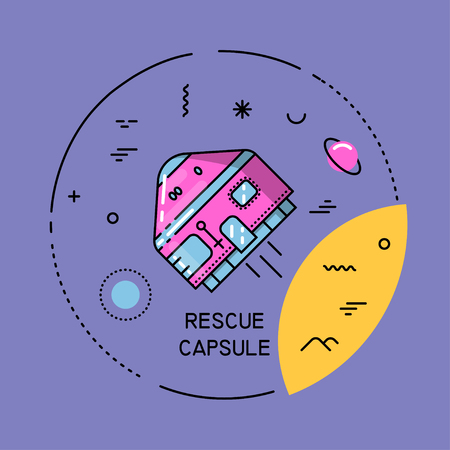 Vector flat line round colorful cosmic illustration of rescue capsule. For poster, website, manual.