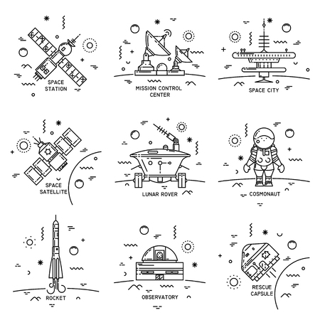 Vector set of thin line icons of cosmos equipment, machinery. Observatory, rescue capsule, lunar rover, cosmonaut, station, satellite, mission control center, rocket.