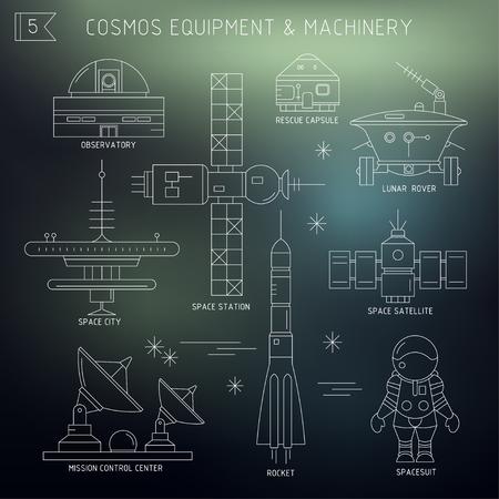Insieme di vettore di attrezzature spaziali, macchinari. Osservatorio, capsula di salvataggio, rover lunare, città spaziale, stazione, satellite, centro di controllo missione, razzo, tuta spaziale al buio. Per poster, sito web, cartolina