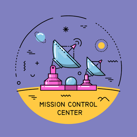 Vector flat line round colorful cosmic illustration. Mission control center. For poster, website, manual.