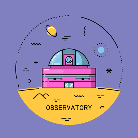 Vector flat line round colorful cosmic illustration of observatory. For poster, website, manual.
