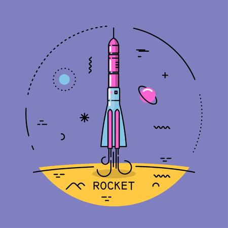 Vector flat line round colorful cosmic illustration of startup rocket. For poster, website, manual. Vector Illustration