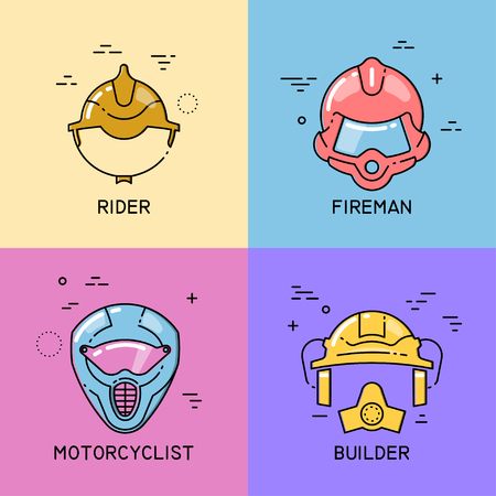 Vector set of flat line icons with shift of helmets of a rider, fireman, motorcyclist and builder on colorful background.