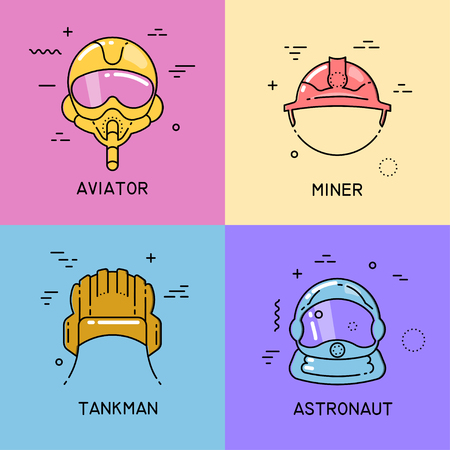 Vector set of flat line icons with shift fill of helmets of a aviator, miner, tankman, astronaut on colorful background.