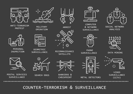 Insieme di vettore delle icone di linea sottile di sorveglianza e antiterrorismo su priorità bassa nera.