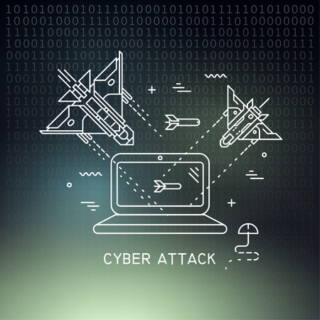 Vector thin line illustration on the theme of cyber attack, hacking. Fighter planes flying and shooting at the laptop on dark mesh background. Vector Illustratie