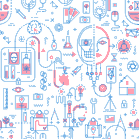 Seamless line art pattern on the theme of technology, industry, science. Red and transparent blue on white background.
