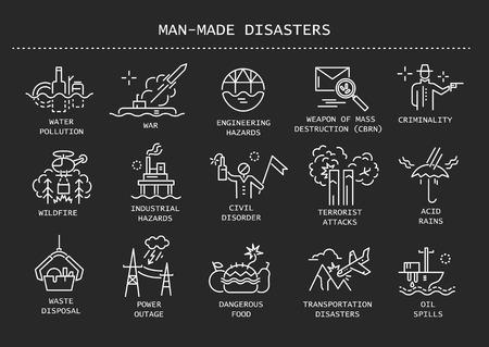Insieme di vettore delle icone di linea sottile di disastri causati dall'uomo, rischi antropogenici su sfondo nero. Vettoriali