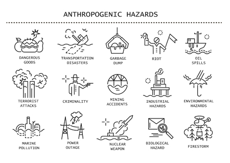Vector conjunto de iconos de líneas finas de peligros antropogénicos, desastres provocados por el hombre.