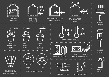 Vector set of icons for packing finishing materials in construction. Instruction for storage, rules of use. Thin line white icons on black background.