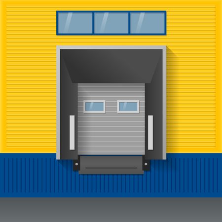 Vector illustration about logistics, transportation. Facade of modern warehouse of yellow and blue sandwich panels with airtight door gates (dock shelter). 일러스트