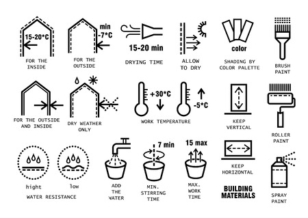 Vector set of thin line icons for packing finishing materials in construction. Instruction for storage, rules of use. Illustration