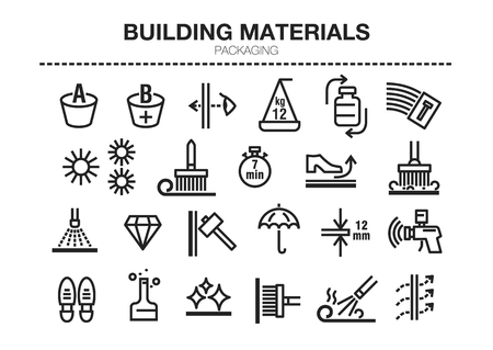 Vector set of thin line icons of building materials characteristics. For conventions, instructions for storage, rules of use and packaging.