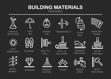 Vector set of thin line icons of building materials characteristics on black background. For conventions, instructions for storage, rules of use and packaging. Иллюстрация