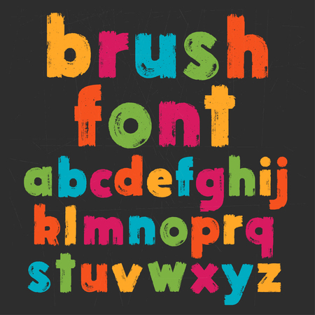 Color lowercase handwritten vector alphabet on black background. Drawn by semi-dry brush with unpainted areas. Illustration
