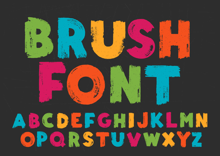 Color capital handwritten vector alphabet on black background. Drawn by semi-dry brush with unpainted areas.