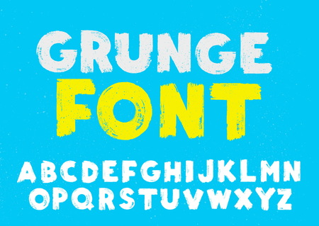 White and yellow grunge capital handwritten vector alphabet on blue background. Drawn by semi-dry brush with unpainted areas. Stock Vector - 114281086