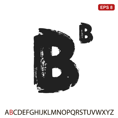 Black capital handwritten vector letter b Illustration