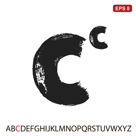 Black capital handwritten vector letter C Illustration