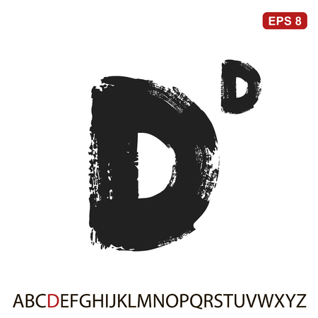 Black capital handwritten vector letter d