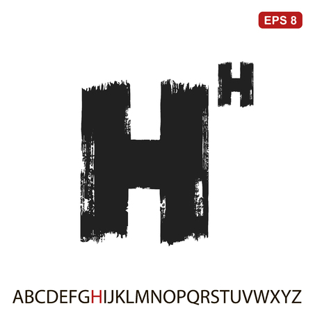 Black capital handwritten vector letter H