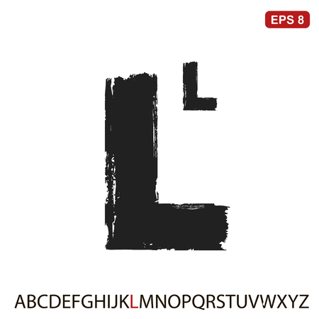 Black capital handwritten vector letter l