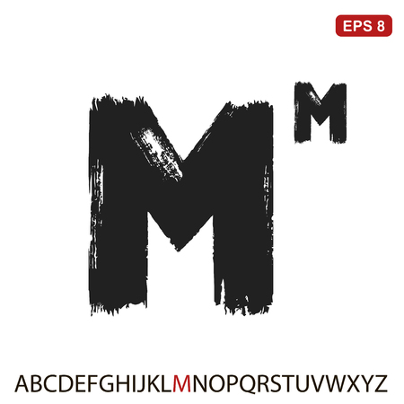 Black capital handwritten vector letter M