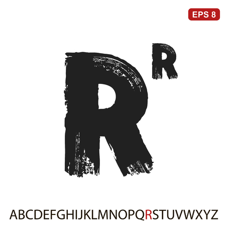 Black capital handwritten vector letter R