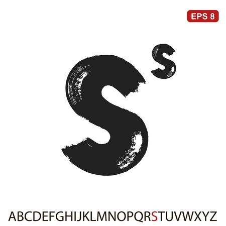 Black capital handwritten vector letter s