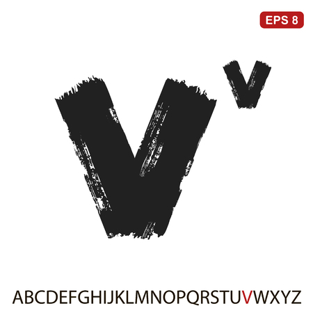 Black capital handwritten vector letter v