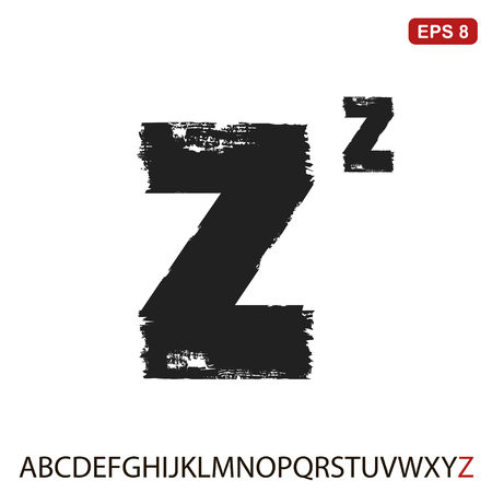 Black capital handwritten vector letter Z