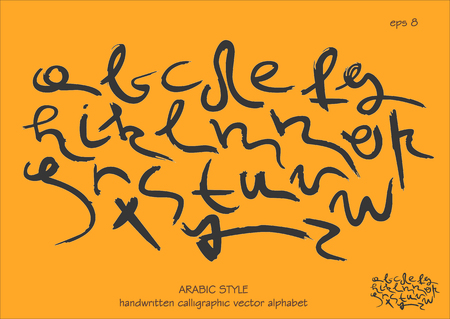 The font alphabet vector set. Handwritten  lowercase black letters in Arabic style on orange background. Illustration