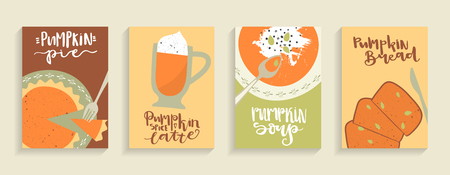 Vector set of cards with hand-drawn images of pumpkin food and lettering. Soup, bread, spice latte and pie. A4 format. 矢量图像