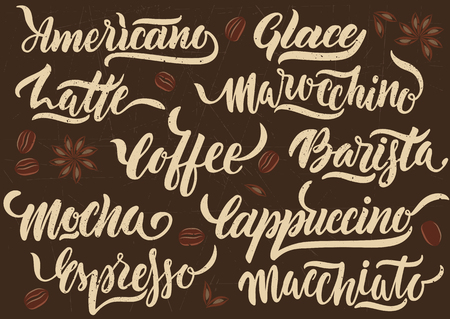 Vector illustration. Handwritten white calligraphic names of different types of coffee on brown background. Concept for poster, menu, card.