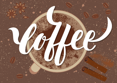 Vector illustration. Handwritten calligraphic white inscription Coffee Illustration